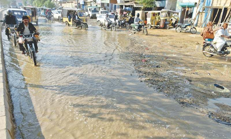 THERE is no doubt that the decrepit water supply and drainage system of the KWSB needs overhaul. Much water is wasted through seepage and leakage, as this burst freshwater pipeline in Pak Colony on Tuesday shows.—Fahim Siddiqi / White Star