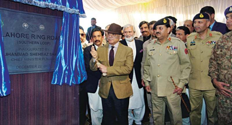 Chief Minister Shahbaz Sharif inaugurates Lahore Ring Road's southern loop.