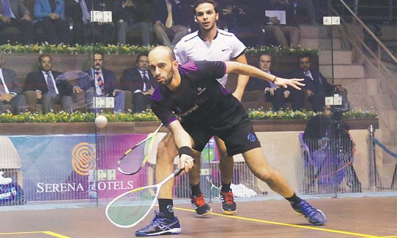 ISLAMABAD: Top seed Marwan El Shorbagy competes against his Egyptian compatriot Zahed Mohamed during the final of Pakistan Open Men's Championship here on Saturday.—Tanveer Shahzad/White Star