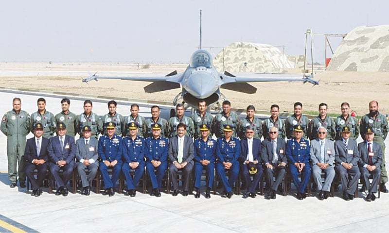 BHOLARI: Air Chief Marshal Sohail Aman and Sindh Chief Minister Syed Murad Ali Shah with senior officials pose for a group photo at the PAF Base Bholari.