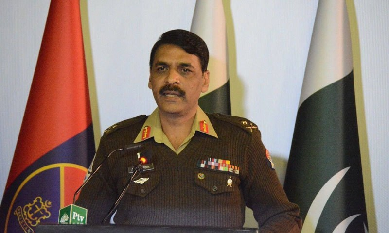 Director General Inter-Services Public Relations Major General Asif Ghafoor at the press conference — DawnNews