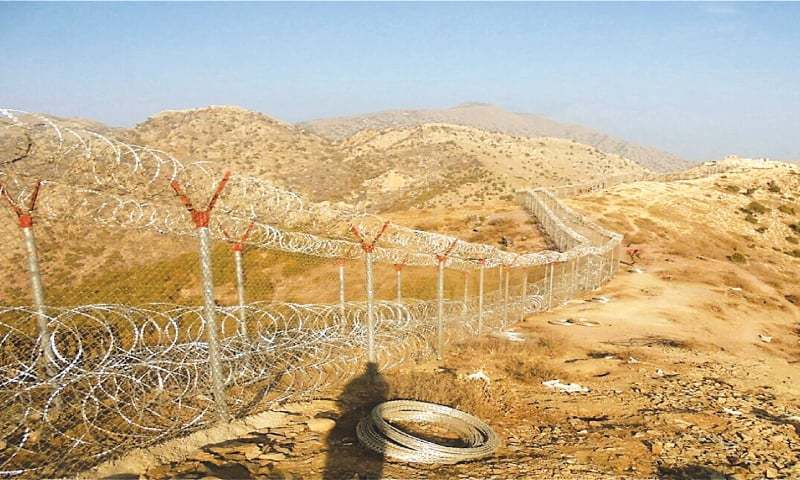 A VIEW of the fence running through an area in the Chitral region.