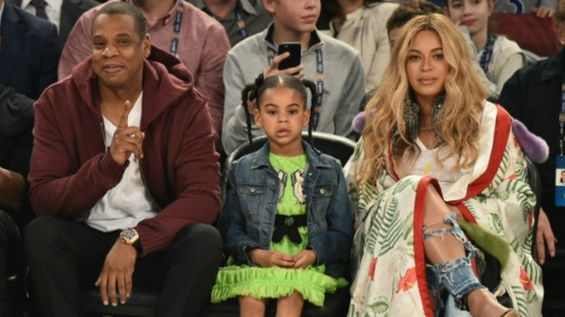 From L-R: Jay-Z, Blue Ivy and Beyonce
