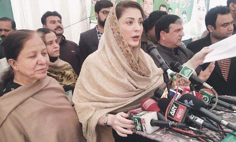PML-N leader Maryam Nawaz speaks at a public meeting on Saturday.—Online