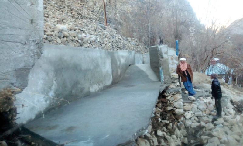 The water tank of the power project in Garam Chashma, Chitral, which collapsed during testing phase.