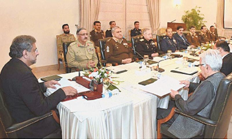 ISLAMABAD: Prime Minister Shahid Khaqan Abbasi chairs a meeting of the National Security Committee on Tuesday.—APP