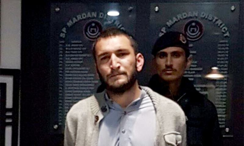 Mardan police arrest Izharullah alias Johnny, the 58th suspect taken into custody in connection with the April 2017 lynching of Mashal Khan. ─ Photo courtesy KP Police Twitter