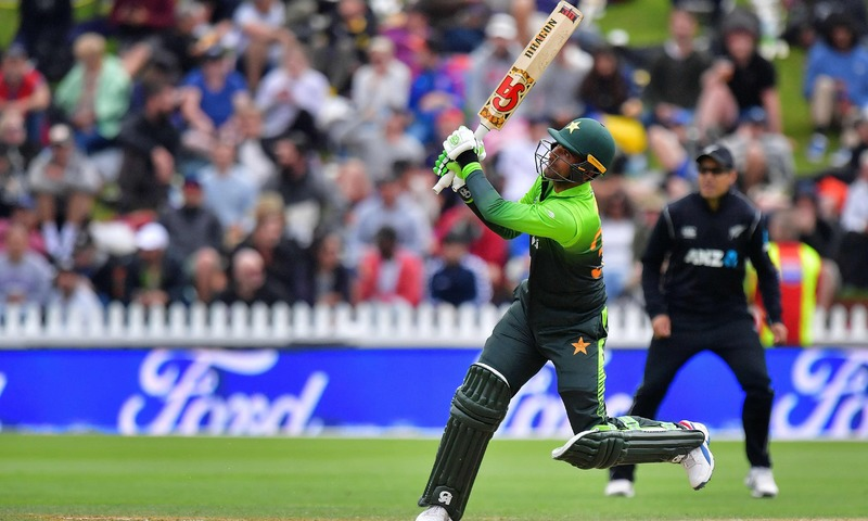 Fakhar Zaman bats during the first one day international cricket match between New Zealand and Pakistan at Basin Reserve in Wellington. — AFP