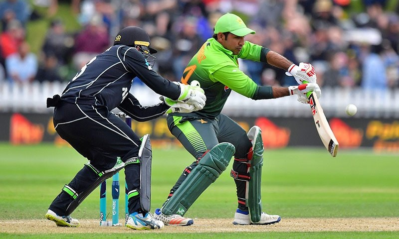 Sarfraz Ahmed in action against New Zealand.—AFP