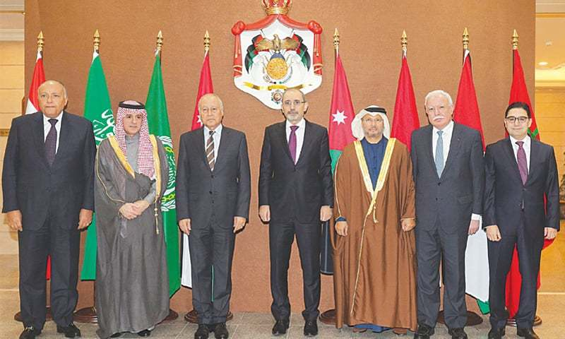 AMMAN: From left to right, Egyptian Foreign Minister Sameh Shoukry, Saudi Foreign Minister Adel al-Jubeir, Arab League chief Ahmed Abul Gheit, Jordanian Foreign Minister Ayman Safadi, UAE Minister of State for Foreign Affairs Anwar Gargash, Palestinian Foreign Minister Riyad al-Malki and Moroccan Foreign Minister Nasser Bourita pose during the meeting on Saturday.—AFP