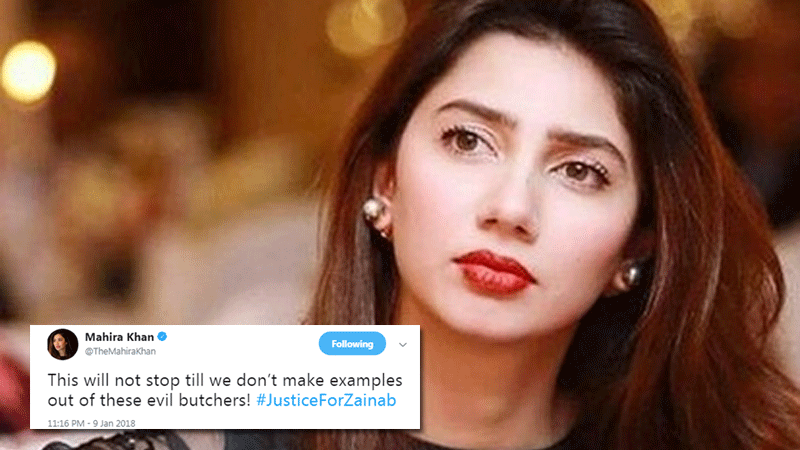 Celebrities are using the hashtag #JusticeForZainab as a call to action