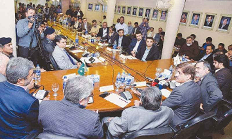 SINDH Chief Minister Syed Murad Ali Shah holds a meeting with office-bearers of the SITE Association in their office on Wednesday.—APP