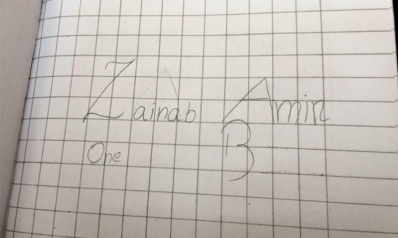 A page from Zainab Amin's homework diary. —Photo by writer