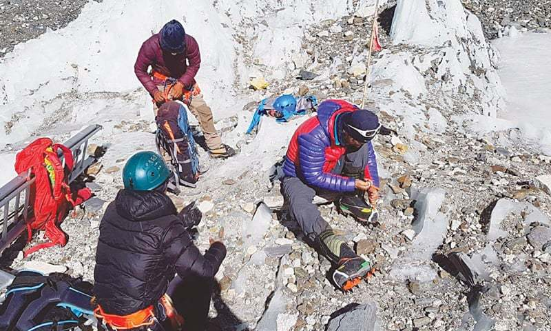 MOUNTAINEER Ali Sadpara prepares to start his adventure from the Everest base camp.—Dawn
