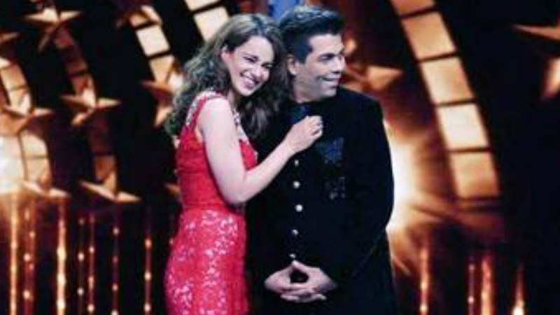 Karan Johar and Kangana Ranaut share the stage on India's Next Superstar.