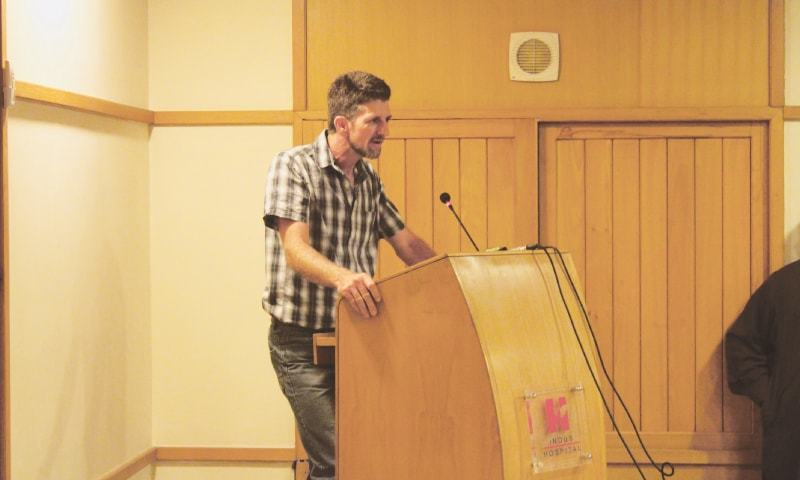 South African expert Daniel Stewart speaks at the launch of Rabies Free Karachi project on Friday.