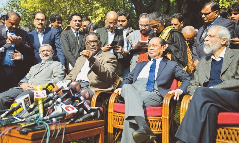 NEW DELHI: Justices Kurian Joseph, Jasti Chelameswar, Ranjan Gogoi and Madan Lokur address media personnel at a news conference on  Friday.—Reuters