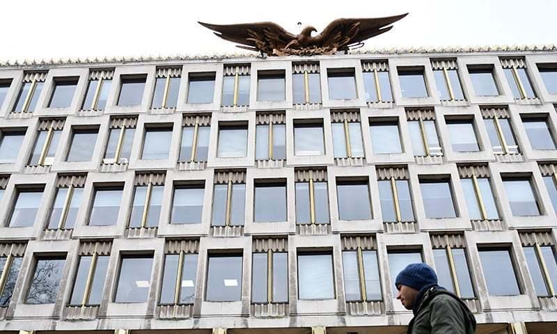 برطانیہ میں امریکی سفارت خانہ وسطی لندن میں قائم ہے—فوٹو:اے ایف پی