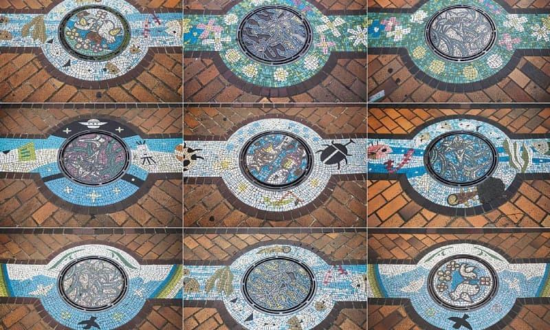 TOKYO: This combo of photos shows designed manhole covers in Kawaguchi,  Saitama prefecture.—AFP