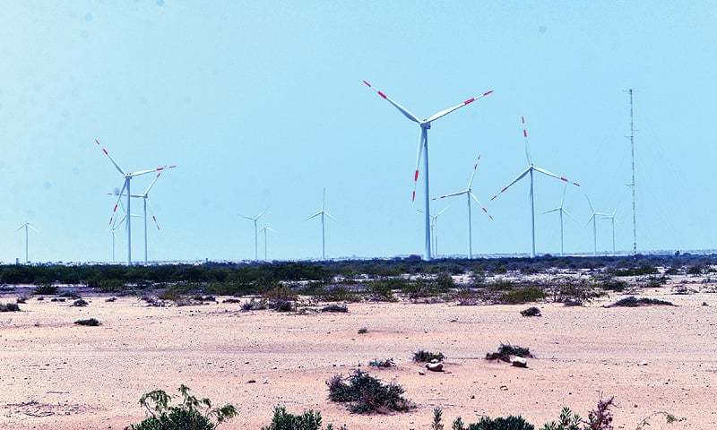 Windmills turning at a Jhimpir wind farm in Sindh. The federal government is refusing to extend sovereign guarantees for new power projects being implemented by the provinces, citing sufficient generation capacity in the country.