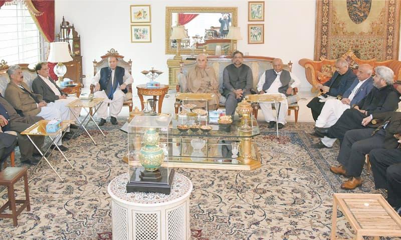 PAKISTAN Muslim League-N president Nawaz Sharif presides over the meeting in Lahore on Thursday. Prime Minister Shahid Khaqan Abbasi is also seen.—White Star