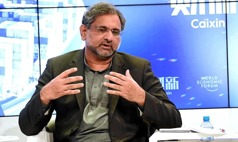 "Prime Minister Shahid Khaqan Abbasi speaking at World Economic Forum's session on ""Belt and Road Impact"". —APP"