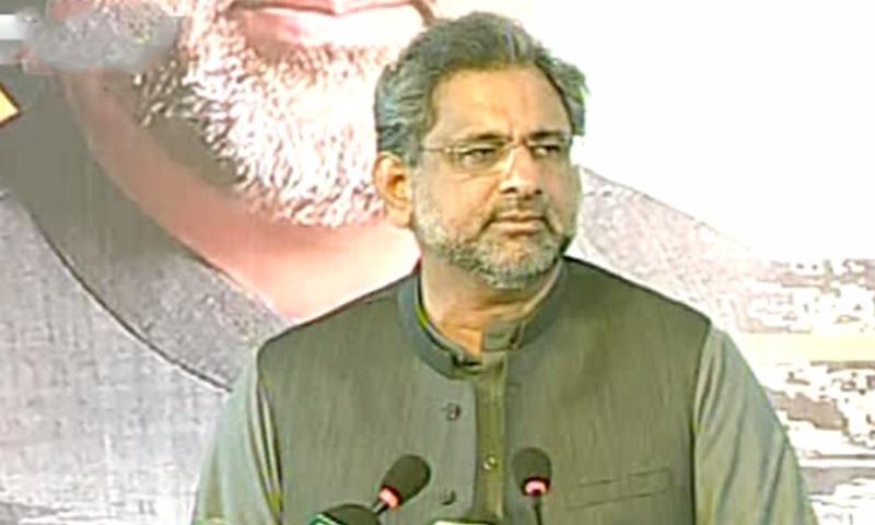 Prime Minister Shahid Khaqan Abbasi inaugurates the Lyari Expressway in Karachi on Sunday. ─ DawnNews