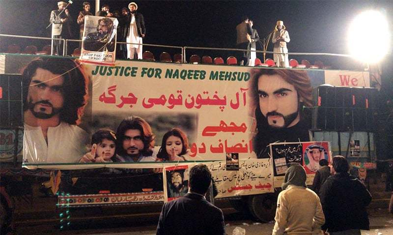 A stage is set up in Islamabad during the protest demanding justice for Naqeebullah Mehsud.— Photo by Shakeel Qarar