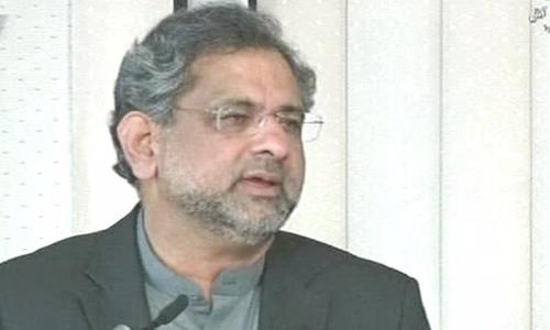 PM Shahid Khaqan Abbasi addresses the AJK Legislative Assembly on Kashmir Day. ─ DawnNews
