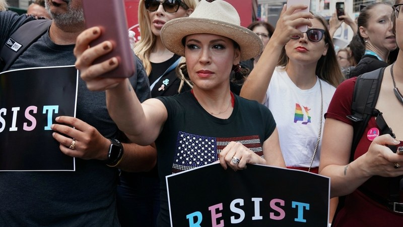 Actress Alyssa Milano attends a protest in Times Square, New York.