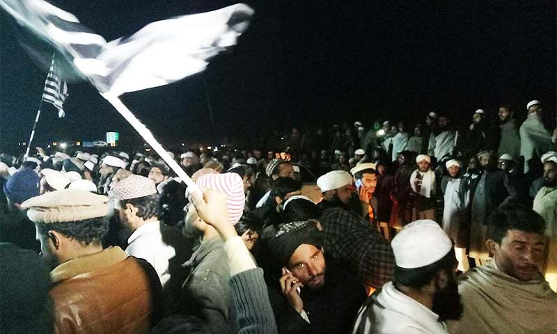 Members of religious parties gathered in Mardan on Wednesday to welcome those acquitted by the court in the murder of Mashal Khan. ─ Photo by author.