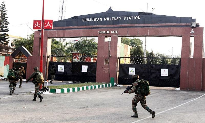 Indian soldiers enter the Sunjuwan Military Station in Jammu on February 10. — AFP
