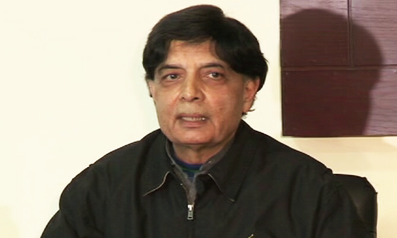 Ex-interior minister Chaudhry Nisar Ali Khan addresses a press conference in Taxila on Saturday.— DawnNews