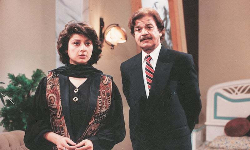 QAZI Wajid with Huma Nawab in a TV play.