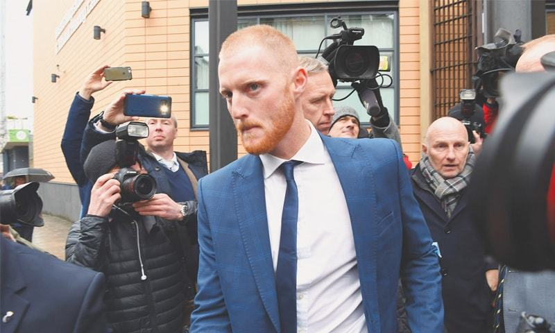 ENGLAND all-rounder  Ben Stokes leaves after appearing in the court  on Tuesday.—AFP