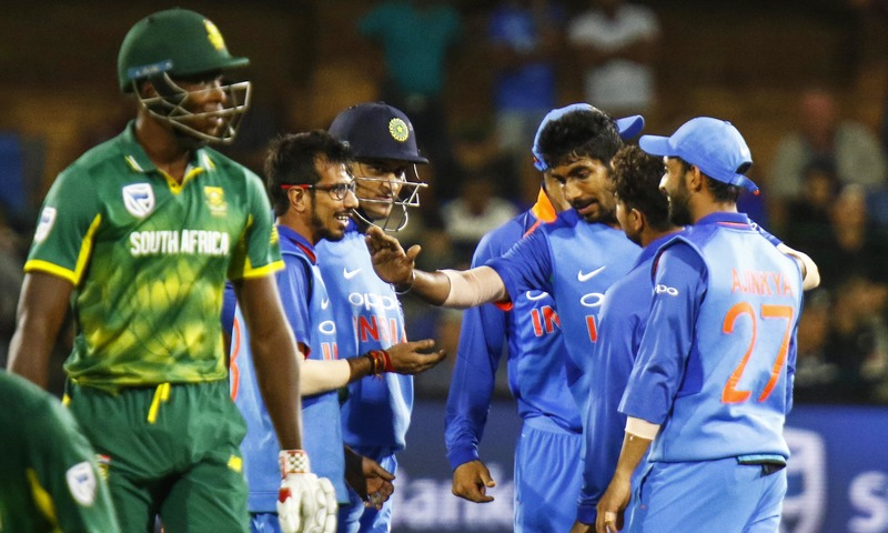 Indian cricketers celebrate a wicket during the fourth ODI cricket match between South Africa and India in Port Elizabeth, South Africa, Tuesday, Feb. 13, 2018. —AP