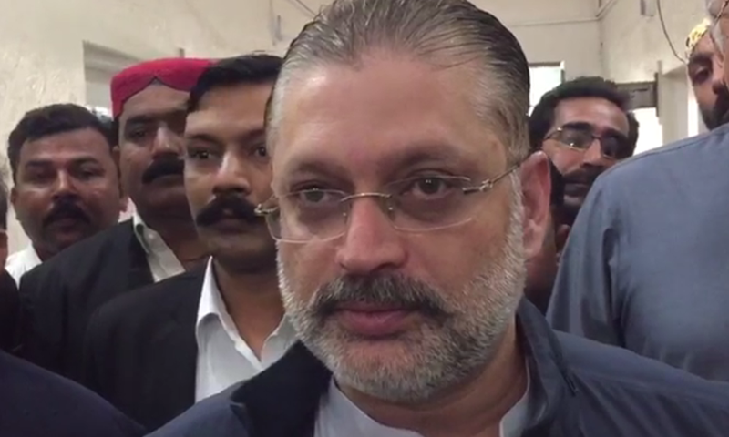 Sharjeel Memon appears at the accountability court on Thursday. — DawnNews