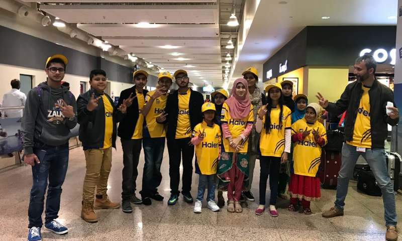 The special guests arrived in Dubai early on Wednesday morning on Peshawar Zalmi Chairman Javed Afridi's invitation. — DawnNews