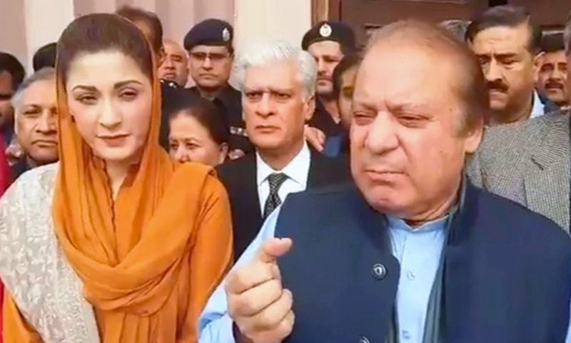Nawaz Sharif speaks to the media before a NAB hearing in Islamabad. —DawnNews