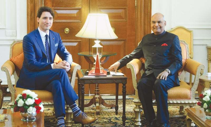 CANADA'S Prime Minister Justin Trudeau (left) meets Indian President Ram Nath Kovind at the Presidential Palace in New Delhi on Friday.—AP