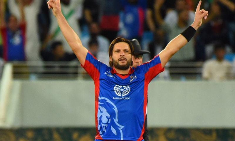 Afridi in a blue Karachi shirt — PSL
