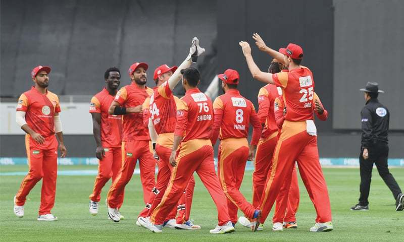 DUBAI: Islamabad United players celebrate the fall of a Multan Sultans wicket during their Pakistan Super League fixture at the Dubai International Cricket Stadium on Sunday.—courtesy PCB
