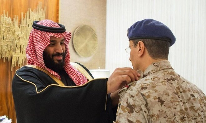 Saudi Crown Prince Mohammad bin Salman meets the newly appointed military chiefs. — Photo courtesy Saudi Press Agency