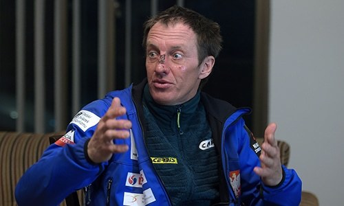 In this photograph taken on March 6, 2018, Russian-Polish climber Denis Urubko speaks during an interview with AFP in Islamabad after attempting to summit the K2 mountain alone during winter. — AFP
