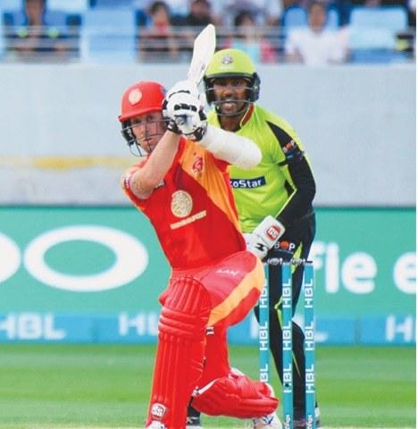 DUBAI: Islamabad United's Luke Ronchi hits out during the match against Lahore Qalandars on Thursday.—courtesy PSL