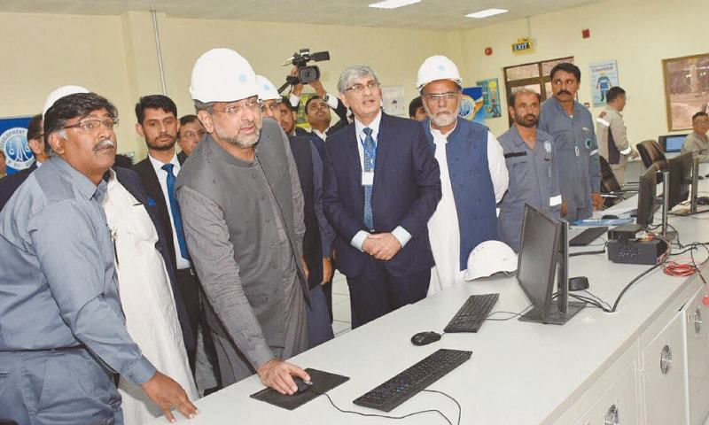 PM Abbasi inaugurating a liquefied petroleum gas (LPG) plant in Nashpa area of Karak district.