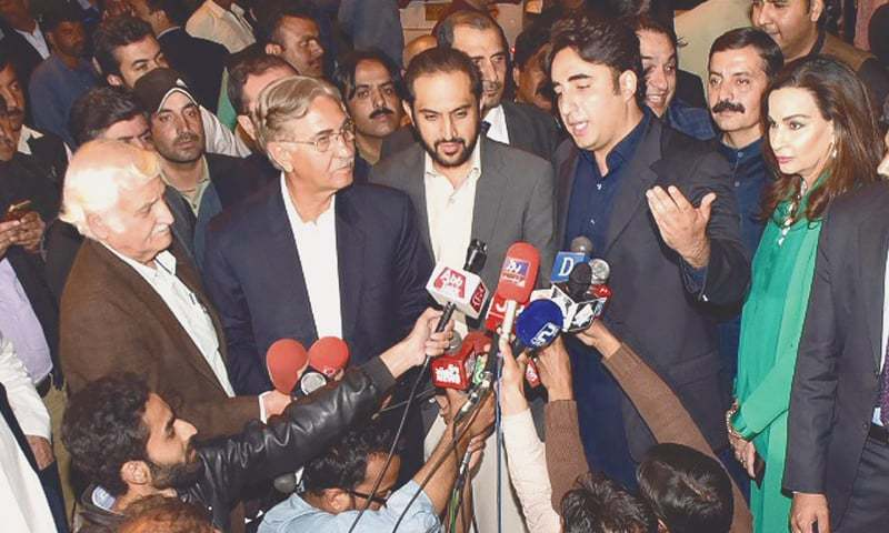 PPP chairman Bilawal Bhutto-Zardari announcing support for Sadiq Sanjrani after a meeting on Sunday.—INP