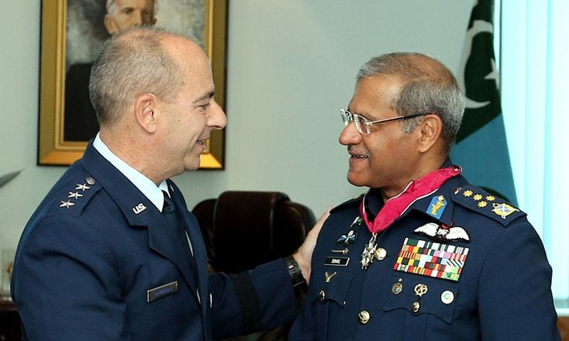 Chief of the Air Staff, Air Chief Marshal Sohail Aman with Commander US Air Forces Central Command, Lieutenant General Jeffrey L Harrigian — APP