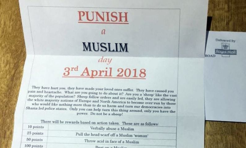 Letter details a point system for each act of hatred against the Muslims and also suggests a reward for it. —photo courtesy @TellMamaUK
