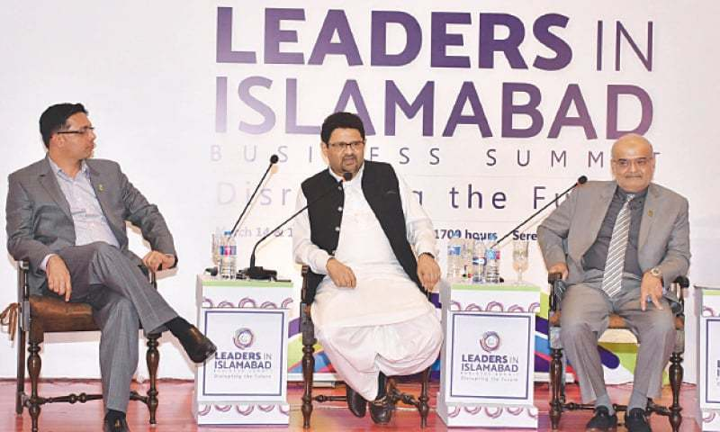 ISLAMABAD: Miftah Ismail is speaking at a session of Business Summit on Thursday.
